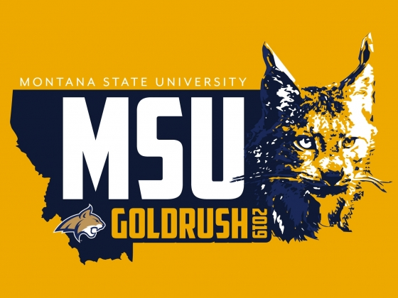 A bobcat head and the state of Montana on a gold background |