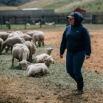 Katie Combs, a senior in animal range science in the College of Agriculture at Montana State University, observes a flock of pregnant ewes on Wednesday, April 26, 2017, at MSU Red Bluff Research Ranch near Norris, Mont. Lambing season, typically the entire month of April, helps students in animal range science receive first-hand experience in a working ranch. MSU Photo by Adrian Sanchez-Gonzalez