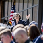 Waded Cruzado, president of MSU, gives remarks during  the ribbon cutting and grand opening ceremony of the new freshman residence hall, Yellowstone Hall, at Montana State University in Bozeman, Mont., on Tuesday, Aug. 16, 2016. MSU Photo by Adrian Sanchez-Gonzalez