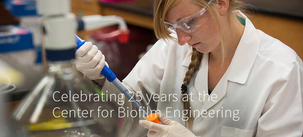 Matthew Fields and Lauren Franco in Center for Biofilm Engineering