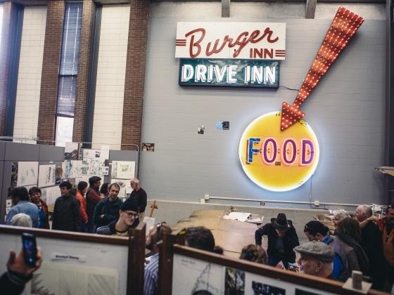 Manny's Burger Inn Neon Sign | MSU Photo by Adrian Sanchez-Gonzalez