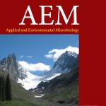 The October cover of Applied and Environmental Microbiology shows Mark Skidmore's photo of Robertson Glacier in Alberta, Canada.