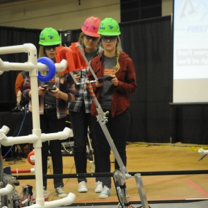 Students at a First Robotics event.