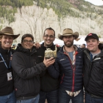 The �Unbranded� production team takes home the Telluride Mountainfilm Festival audience award, including Ben Masters, who developed the concept for the film and was featured in it, as well MSU-linked filmmakers (from left):, Scott Chestnut, Paul Quigley, Phillip Baribeau and Will Lake Springstead. Not pictured: Dennis Aig and Korey Kaczmarek. Photo courtesy of Gravitas Ventures.