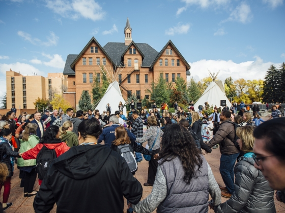 A crowd celebrates Indigenous Peoples Day at Montana State University on Oct. 8, 2018. | Adrian Sanchez-Gonzalez/MSU