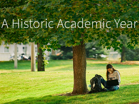 A woman sits on the grass beneath a tree on a college campus, studying on a laptop. | MSU