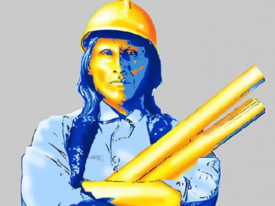 A painting in shades of blue and gold of a man with long dark hair and a hard hat holding rolls of project plans. |