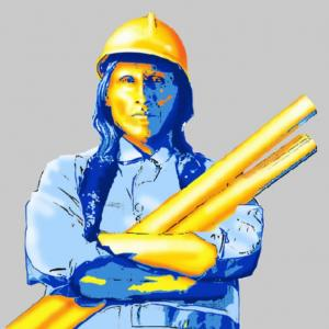 A painting in shades of blue and gold of a man with long dark hair and a hard hat holding rolls of project plans.