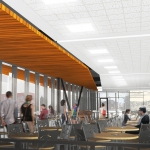 The new Montana State University dining hall, set to open in fall 2018, is shown in this artist's rendering. Image courtesy of Mosaic Architecture.