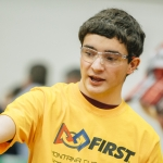 Douglas MacLeod, a freshman in computer engineering at Montana State University, volunteers in the FIRST Tech Challenge robotics competition in Shroyer Gym at MSU on Friday, Jan. 27, 2017 in Bozeman, Mont. Middle school and high school students from across Montana flock to MSU for the annual robotics competition hosted by the MSU College of Engineering. MSU Photo by Adrian Sanchez-Gonzalez