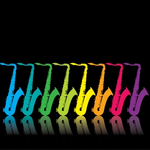 Rainbow jazz saxes