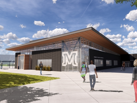 A rendering of the future Bobcat Athletics Complex, showing a two-story, glass-paneled building set at the north end of Bobcat Stadium.   Image courtesy of Bobcat Athletics