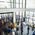 Members of the Montana State University community get their first look inside Yellowstone Hall Tuesday, August 16, 2016. MSU photo by Kelly Gorham