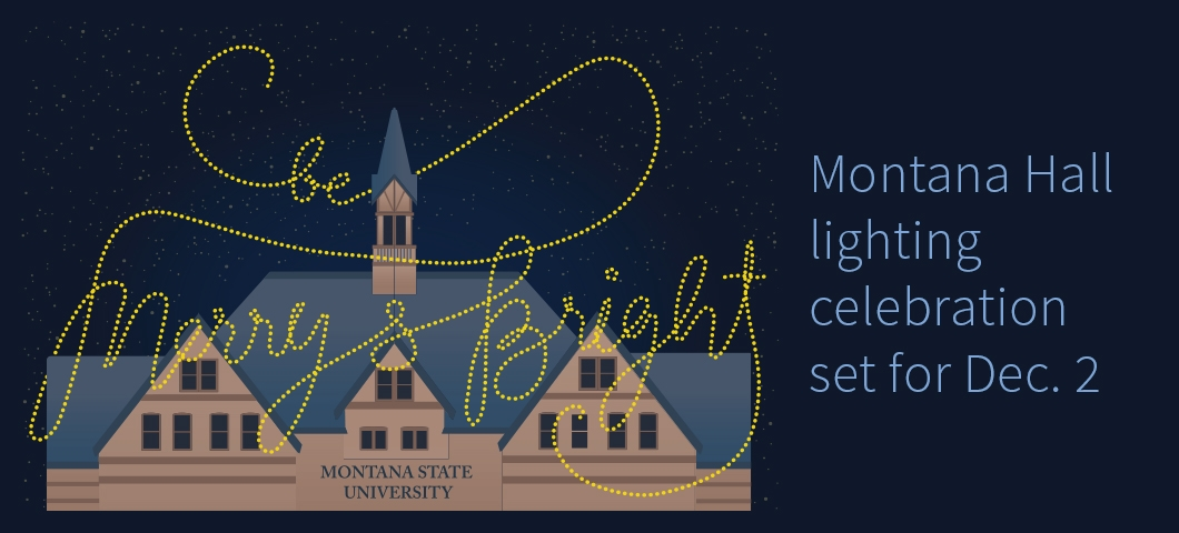 Lights on Montana Hall | Illustration by Paige Rittersbacher