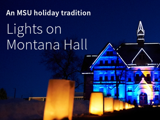 An MSU holiday tradition: Lights on Montana Hall. Colorful lights illuminate historic Montana Hall at Montana State University.