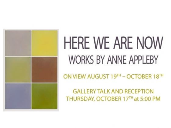 Here We Are Now: Works by Anne Appleby at Helen E. Copeland Gallery located on the second floor of Haynes Hall, Bozeman, MT. Here We Are will be on display from Monday, August 19th to Friday, October 18th, 2019.