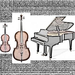 Artistic depiction of violin, cello, and piano