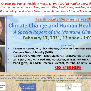 Flyer for Climate Change and Human Health in Montana