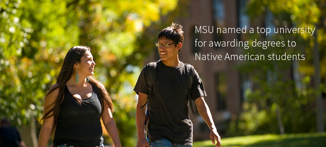 Native American students walking on the MSU campus. | Photo by Kelly Gorham