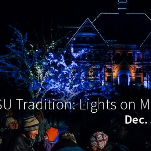 Montana Hall at MSU Bozeman is lit for the holiday season.