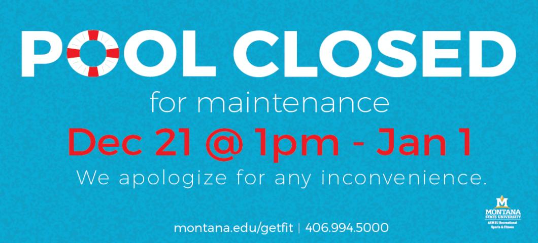 Pool Closed Dec. 22-Jan 1