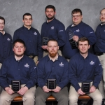 Photo of team of six MSU civil engineering students and two faculty coaches