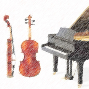 Artistic depiction of violin and piano