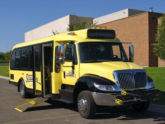 Streamline bus with ramp |