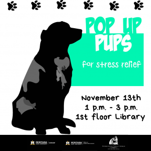 Pop-Up Pups in the Library 1-3pm November 13th.