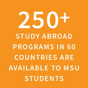 250+ study abroad programs in 60 countries are available to MSU students |