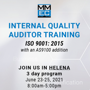 Internal Quality Auditor Training ISO 9001 is starting in Helena on May 23th