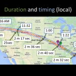 This shows the path and local times that the 2017 solar eclipse will appear across the United States. It also shows how long the total eclipse can be viewed at some U.S. locations. (Graphic courtesy of the Montana Space Grant Consortium).