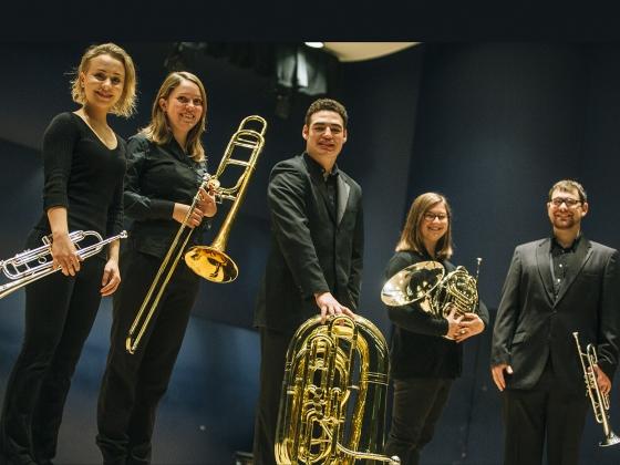 Bridger Brass Quintet Wins First Place in State MTNA | MSU Photo by Adrian Sanchez-Gonzalez