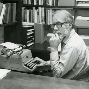 Ivan Doig at work with his typewriter