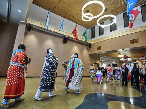 People walking into a large interior room | MSU photo by Adrian Sanchez-Gonzalez
