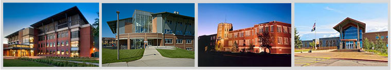 Four buildings from each of MSU's campuses