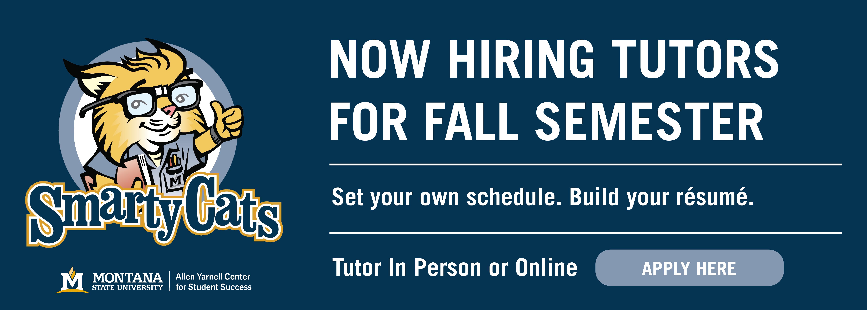 Now hiring tutors for fall