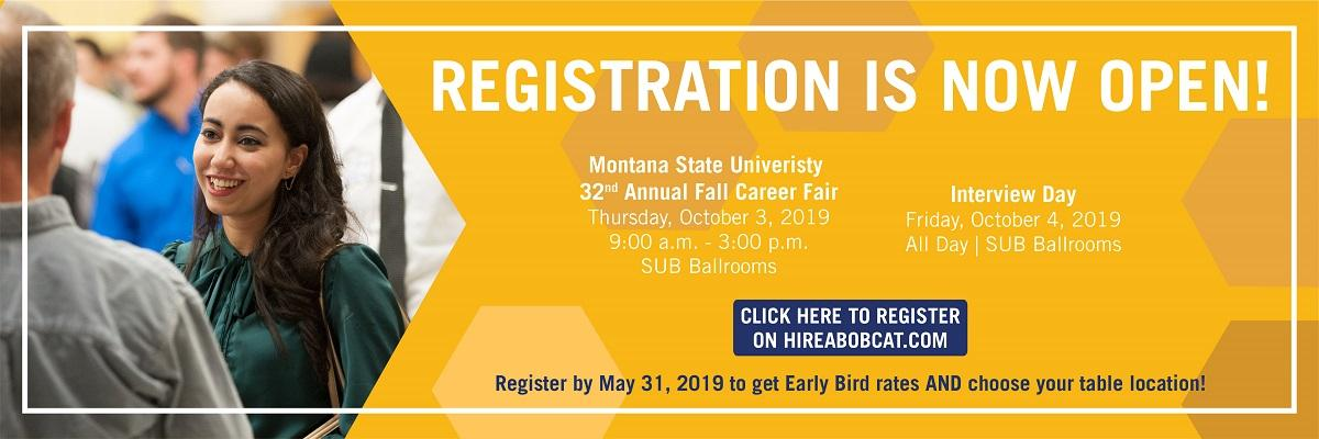 Registration for the 2019 Fall Career Fair is open! Click this banner to register.