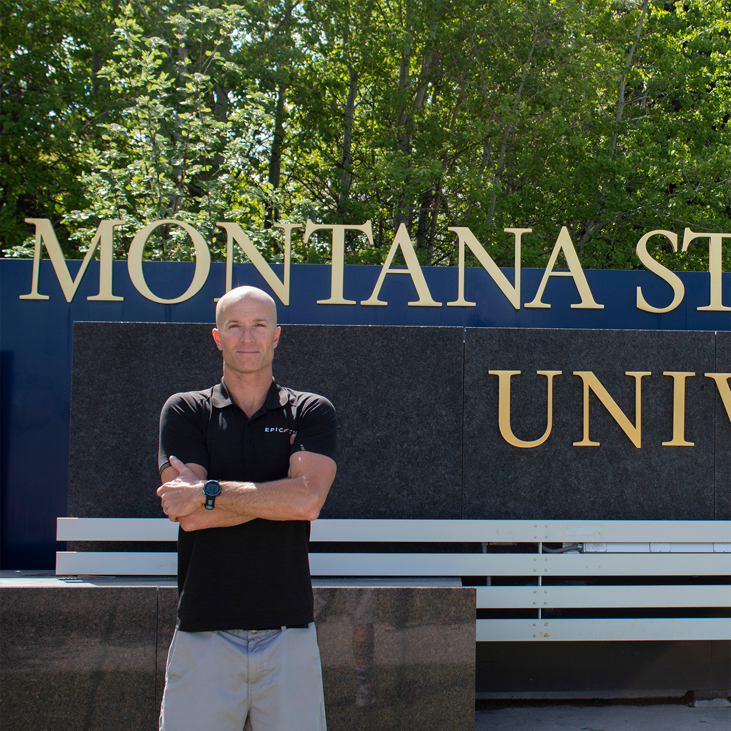 a picture of paul infront of the montana state sign