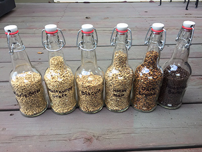 Malt ranges from pale base malts to dark roasted barley