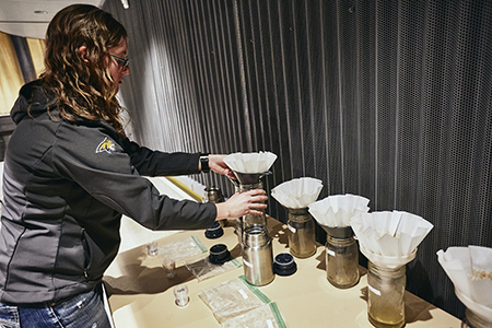 Sarah Olivo prepares wort samples for the 2019 Malt Cup