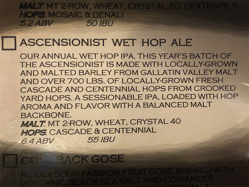 Bridger Brewing menu - Ascentionist
