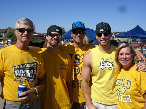 Backer family tailgating at opening day of Bobcat football in September 2011
