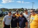 Craig brothers unite at Gold Rush game. Dwight '86, Duane '87, Don '70, Doug '78, Dennis '82, David. Photo submitted by Sharon Craig