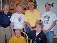 Big Sky, MT -- Back row, l-r: Marty Crennen, Helena, '57; Pete Madison, Butte, '59; Mike Crennen, Roseburg, Oregon, '84; Tyler Crennen, Billings, '08; front row, l-r: Dr. Lee Richardson, Laurel, '60, Marg Crennen, Helena, '56.