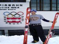 Innsbruck, Austria -- Kristopher Schock telemark skiing in Innsbruck