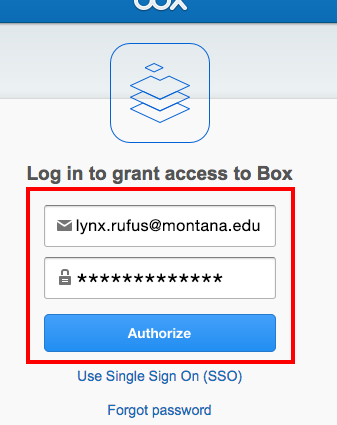Log in to grant access to Box login fields for email address, password and the authorize button.