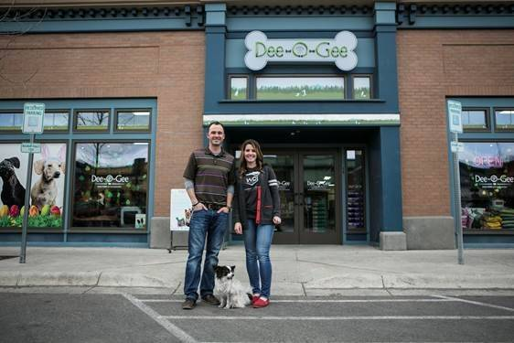 Dee-O-Gee owners Josh and Holly Allen outside of their storefront