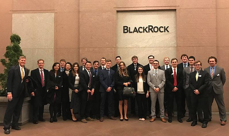 Students visiting BlackRock in New York City