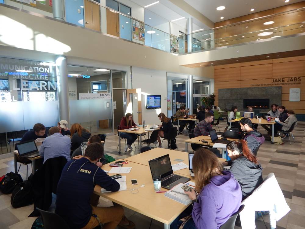 Students studying in the Jabs Hall Forum